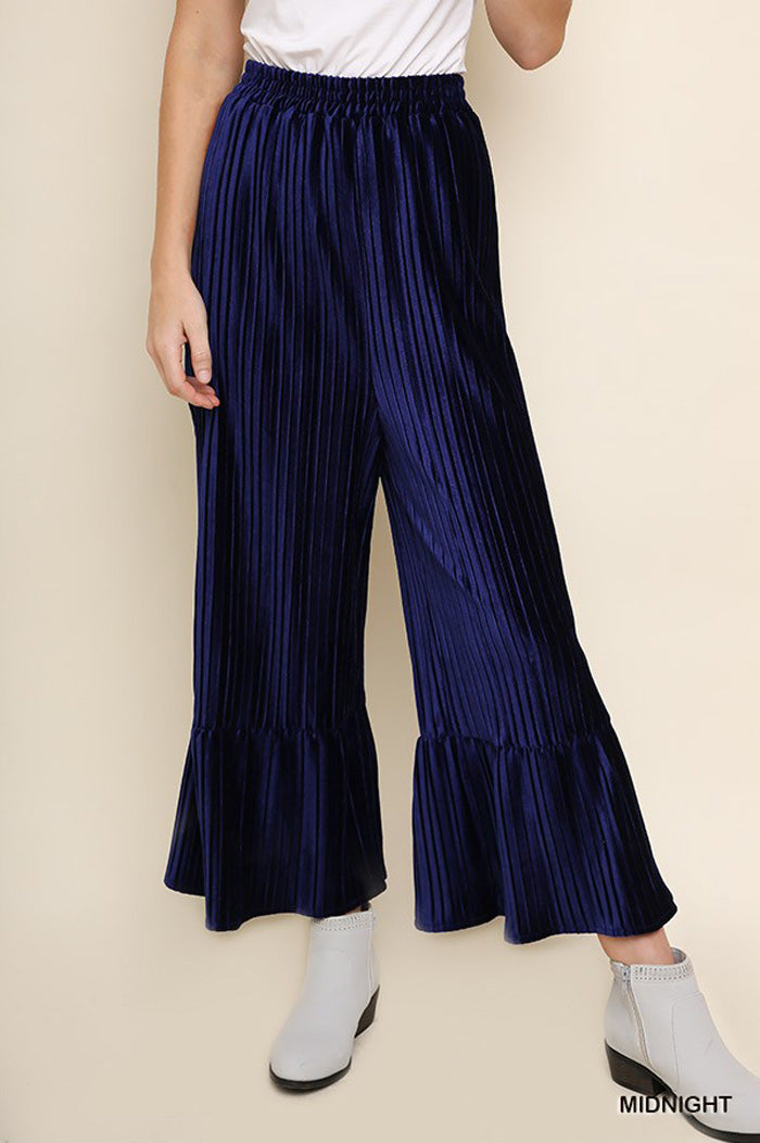Carolyn Velvet Pleated Flare Pants : Wine