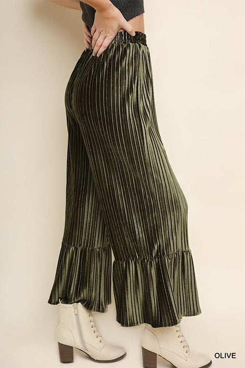 Carolyn Velvet Pleated Flare Pants : Olive