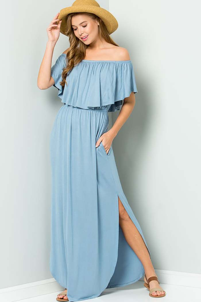 Solid Ruffle Off Shoulder Maxi Dress : Chambray