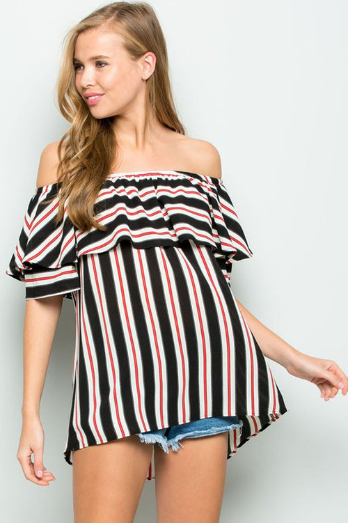 Chelsey Off Shoulder Top : Black
