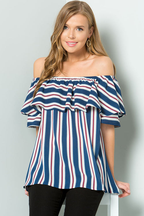 Chelsey Off Shoulder Top : Navy