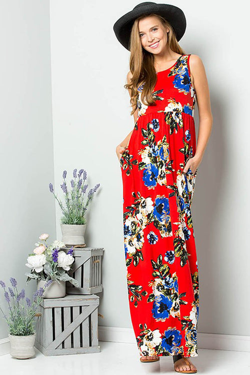 Christine Bold Floral Maxi : Red