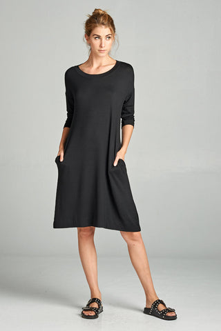Sophia Solid Swing Dress : Black