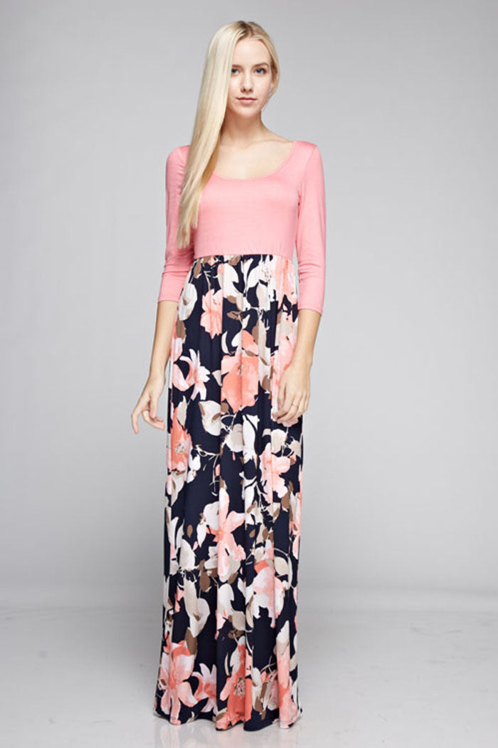 Grace Floral Skirt Maxi Dress : Hot Pink