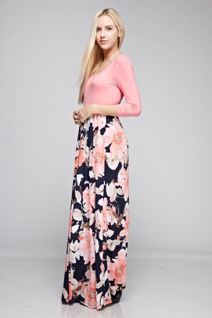 Grace Floral Skirt Maxi Dress : Coral