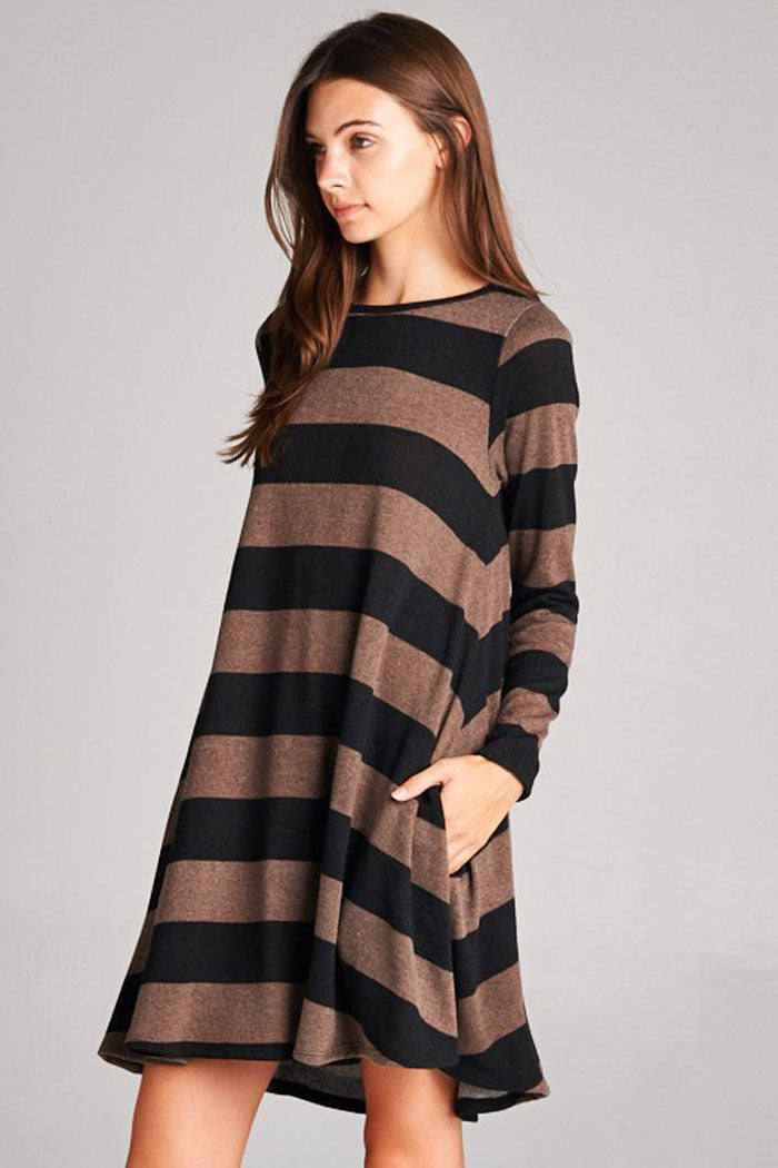 Striped Hacci Mini Dress :  Burgundy/Mocha