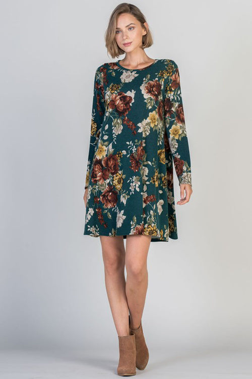 Wendy Floral Midi Dress : Hunter Green
