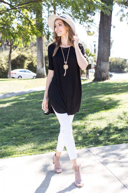 Leah Piko Tunic Top : Black