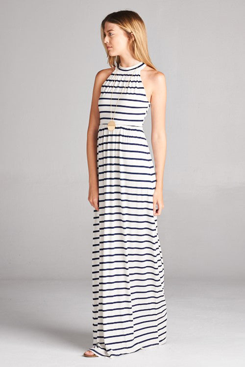 Sofia Halter Neck Maxi Dress : Ivory/Navy