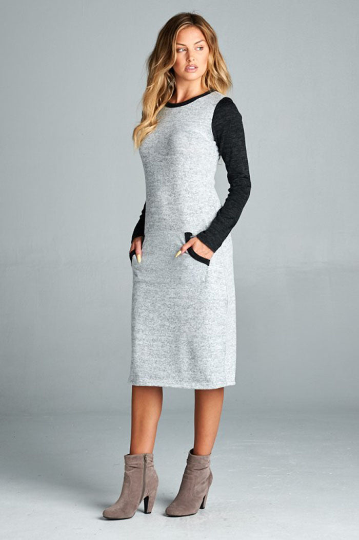 Abigail Midi Dress : Heather Grey/Black