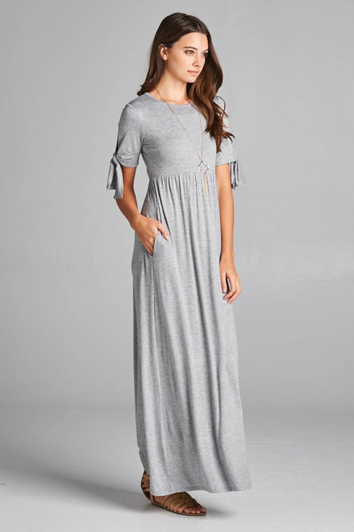 Nadia Tie Sleeve Maxi Dress : Heather Grey