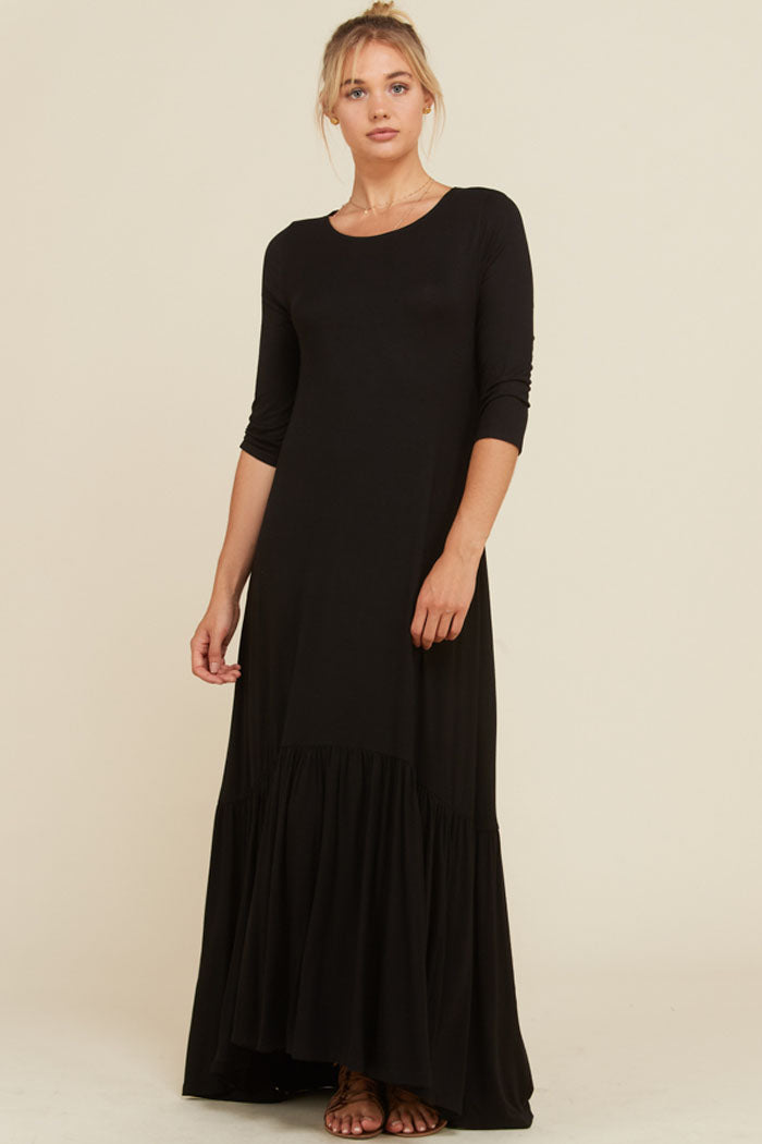 Jennifer Ruffle Maxi Dress : Black