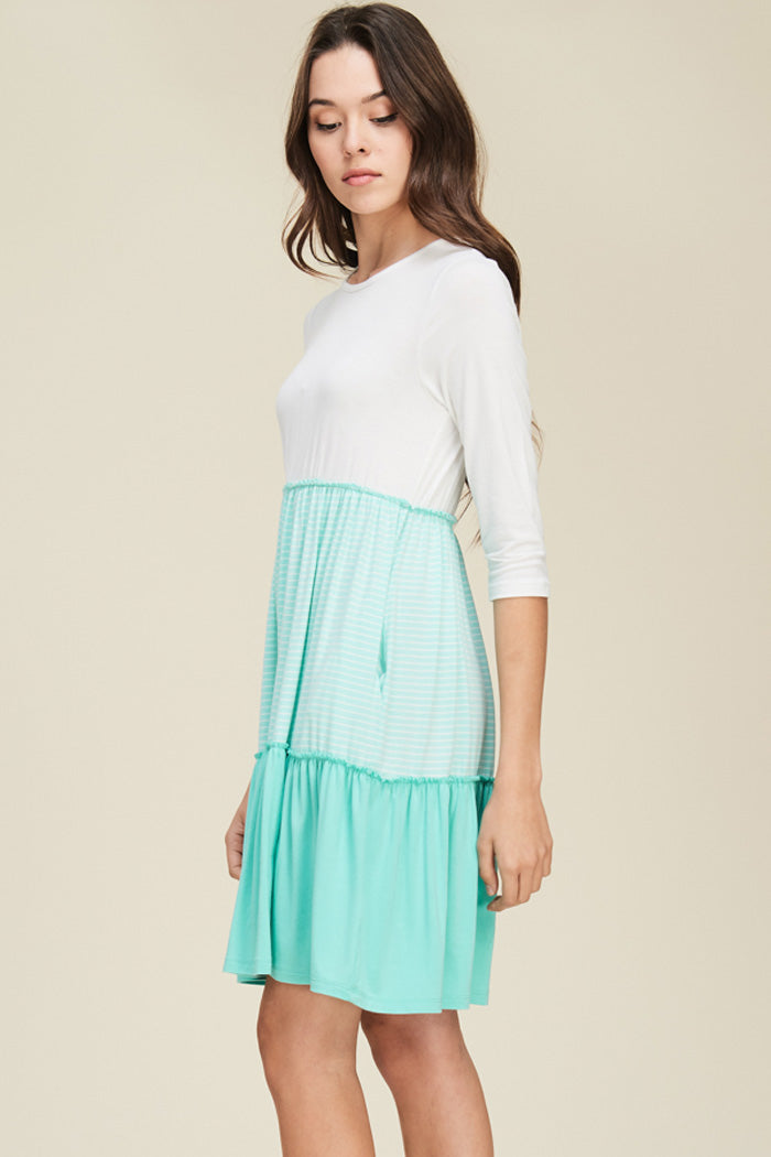 Autumn Layered Swing Dress : Mint/Ivory