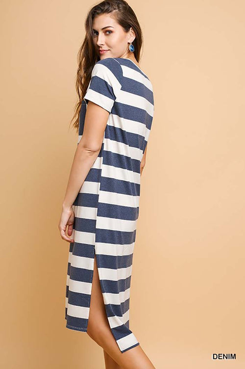 Olivia Stripe Tee Dress : Denim