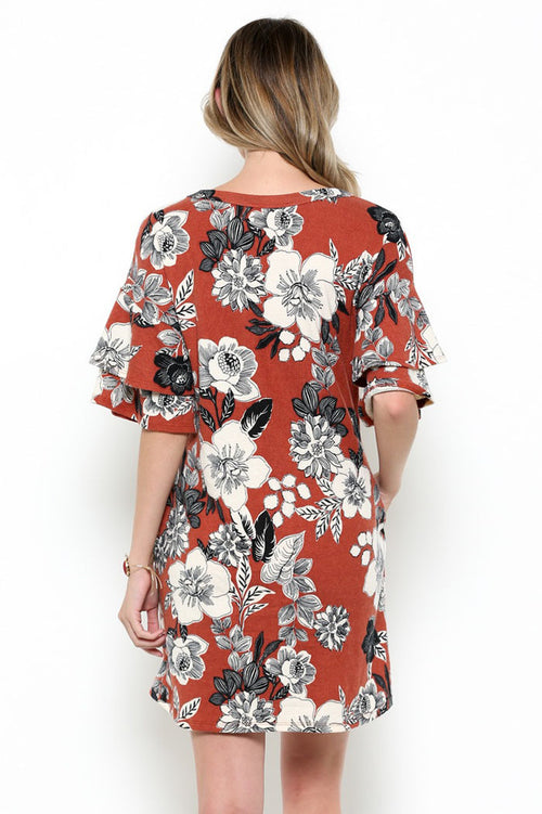 Ruffled Floral Dress : Rust