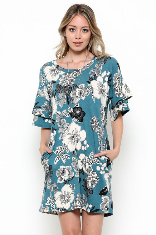Ruffled Floral Dress : Teal