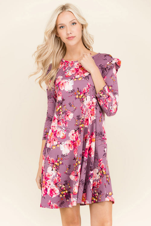 April Floral Midi Dress : Orchid