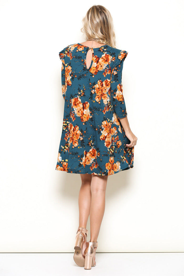 April Floral Midi Dress : Teal