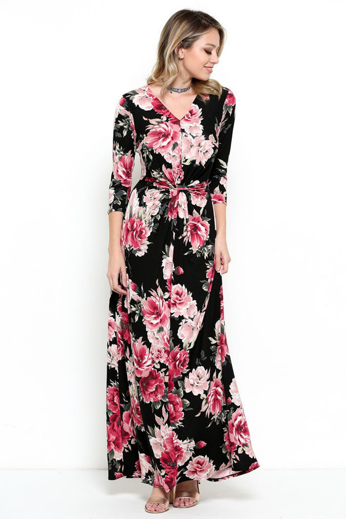 Gorgeous Front Knot Maxi Dress : Black
