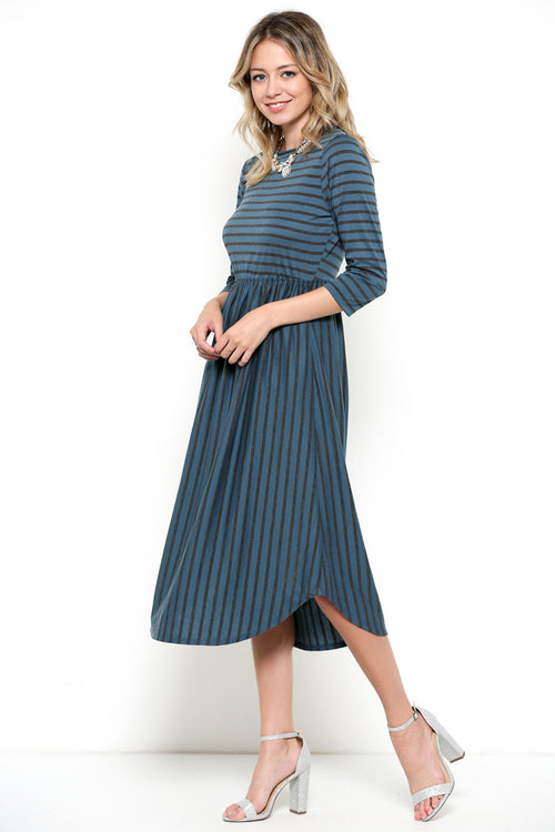 Basic Stripe Midi Dress : Teal