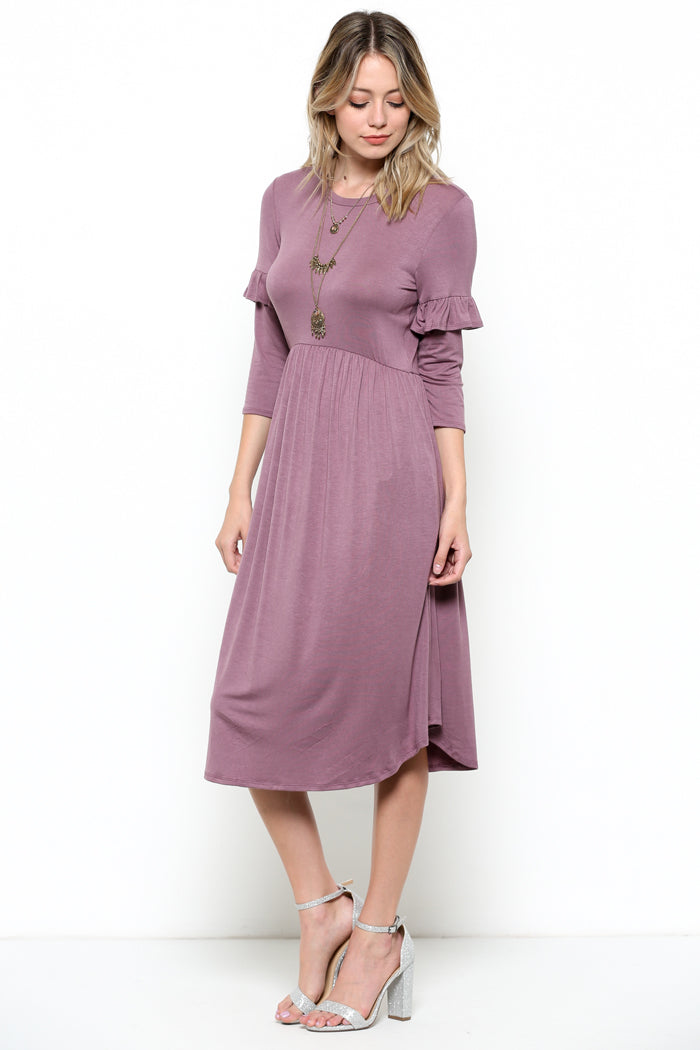 Cute Ruffled Midi Dress : Orchid
