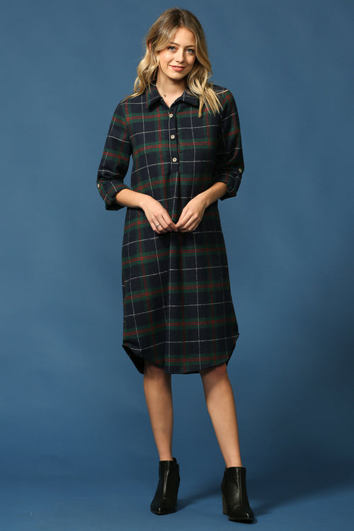 Plaid Shirt Dress : Green