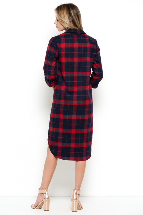 Plaid Shirt Dress : Red