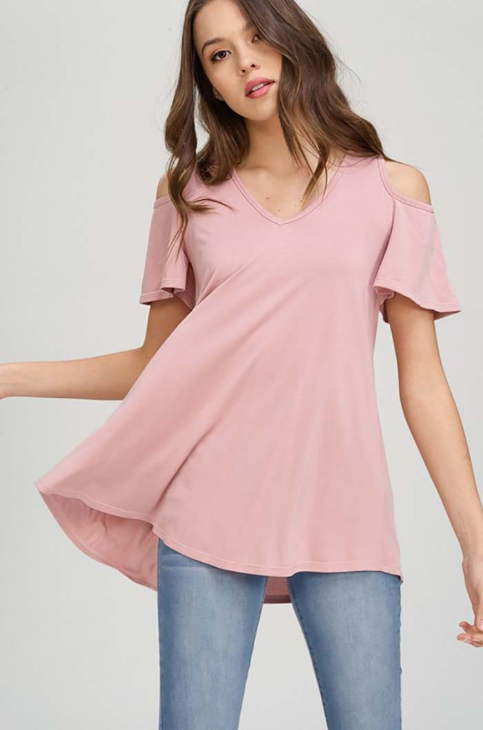 Mckenzie Cold Shoulder Tunic Top : Dusty Pink