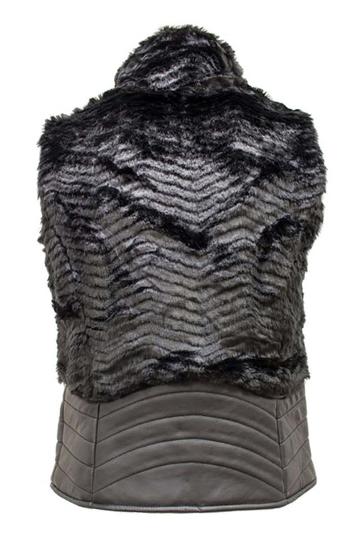 Detailed Fur Vest With Gold Zippers and Leatherette Trimmings