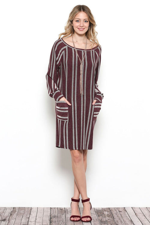 Leona Stripe Midi Dress : Burgundy