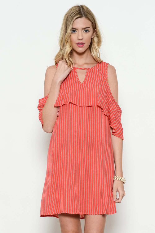 Striped Cold Shoulder Mini Dress - Mini - GOZON