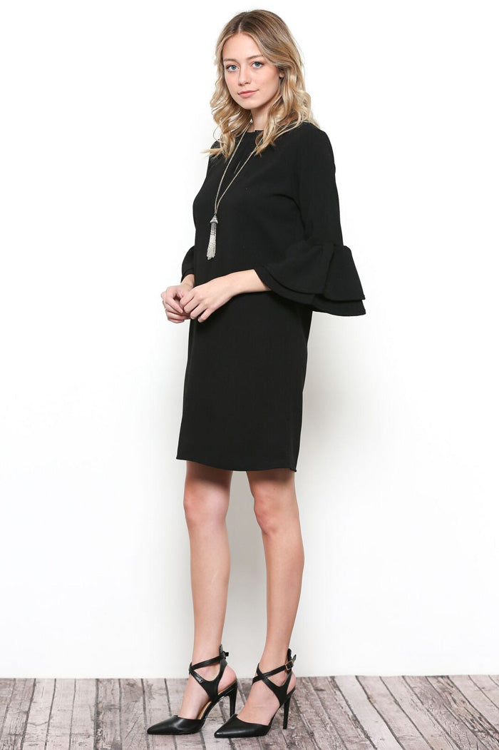 Hazel Bell Sleeve Dress : Black