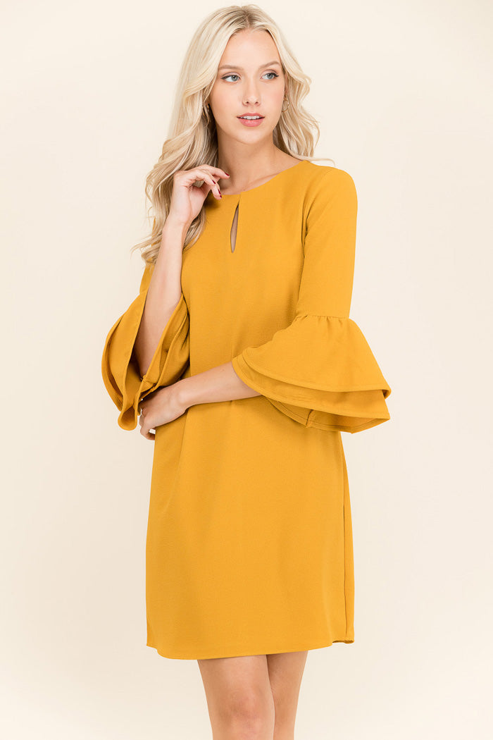 Hazel Bell Sleeve Dress : Mustard