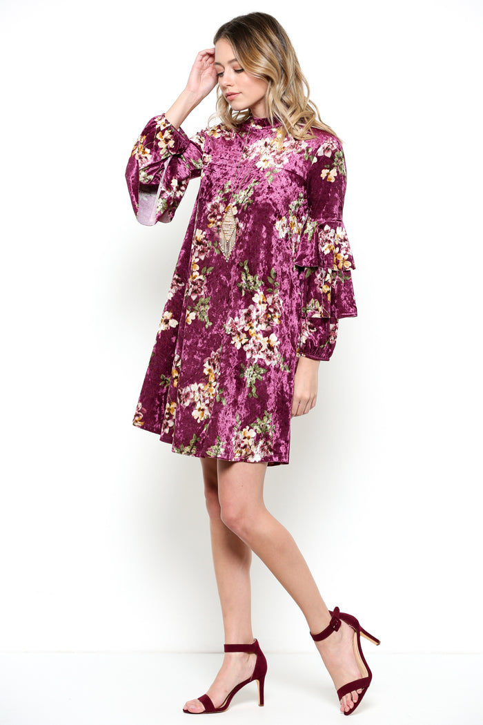 Velvet Ruffled Dress : Purple