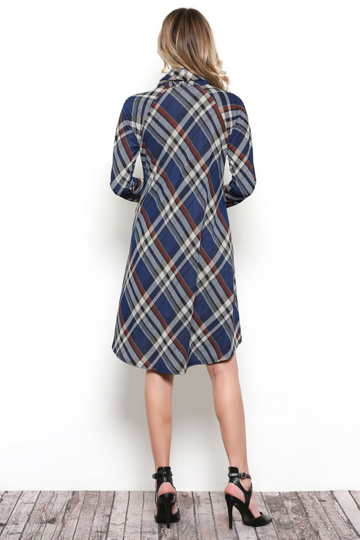 Melissa Plaid Turtleneck Dress : Navy