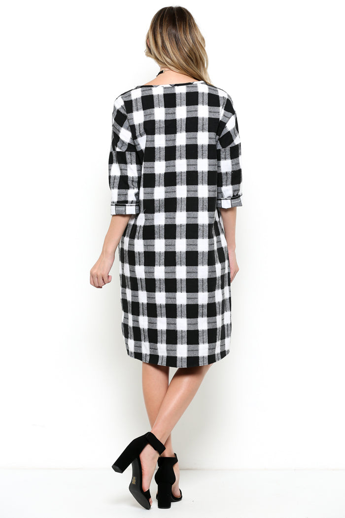 Loose Fit Plaid Dress : Black