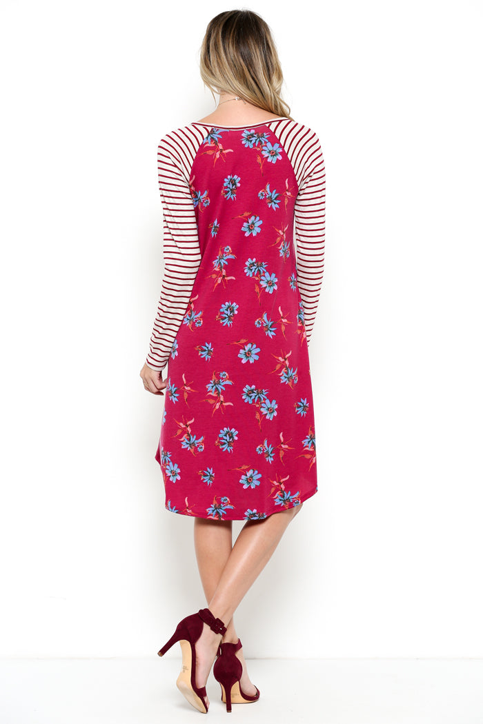 Stripe & Floral Dress : Burgundy