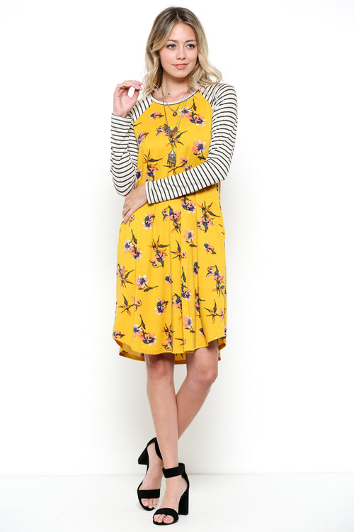 Stripe & Floral Dress : Mustard