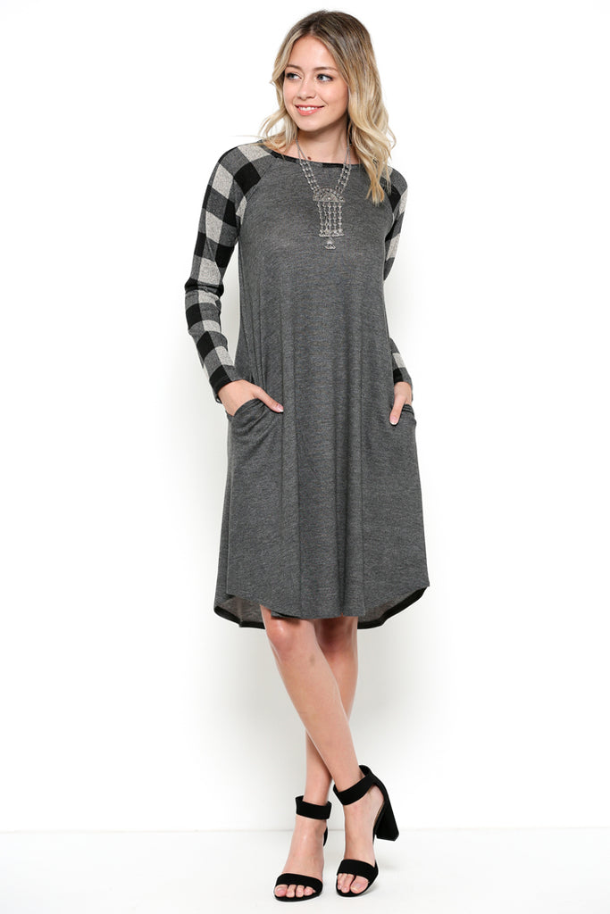 Fall Midi Dress with Black and Gray Plaid Sleeves