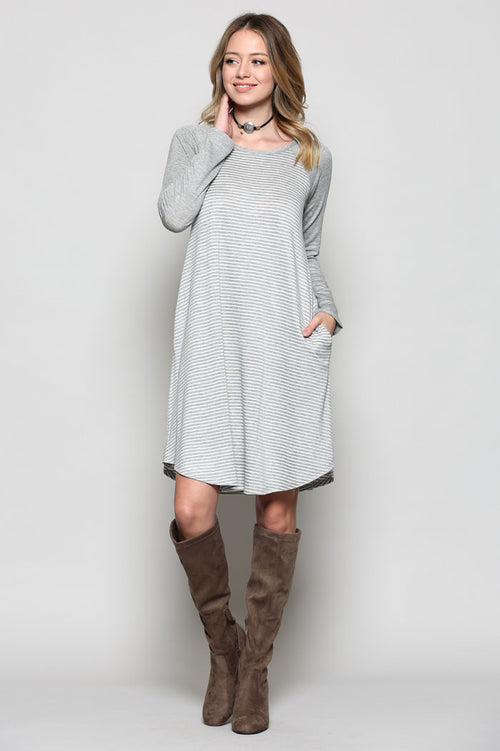 Katrina Stripe Midi Dress : Grey