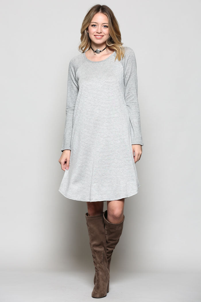 35f5104e5f Katrina Stripe Midi Dress : Grey – GOZON Boutique