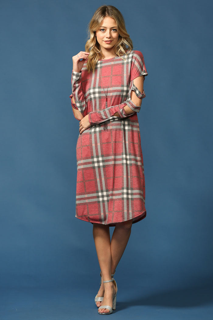 Multi Cutout Plaid Dress : Red