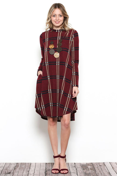 Amanda Plaid Loose Dress : Burgundy