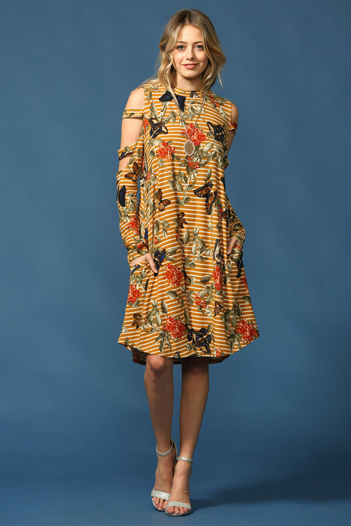 Floral with Butterfly Dress : Mustard