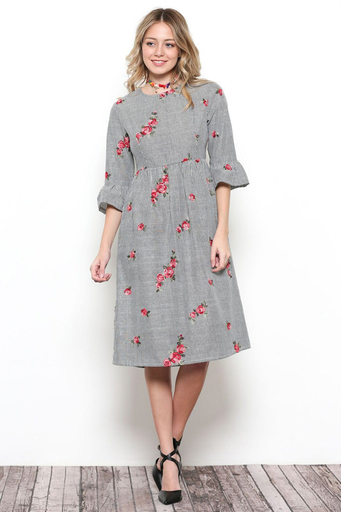 Victoria Floral Embroidery Dress
