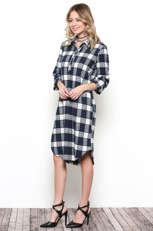 Sarah Button Down Dress : Navy