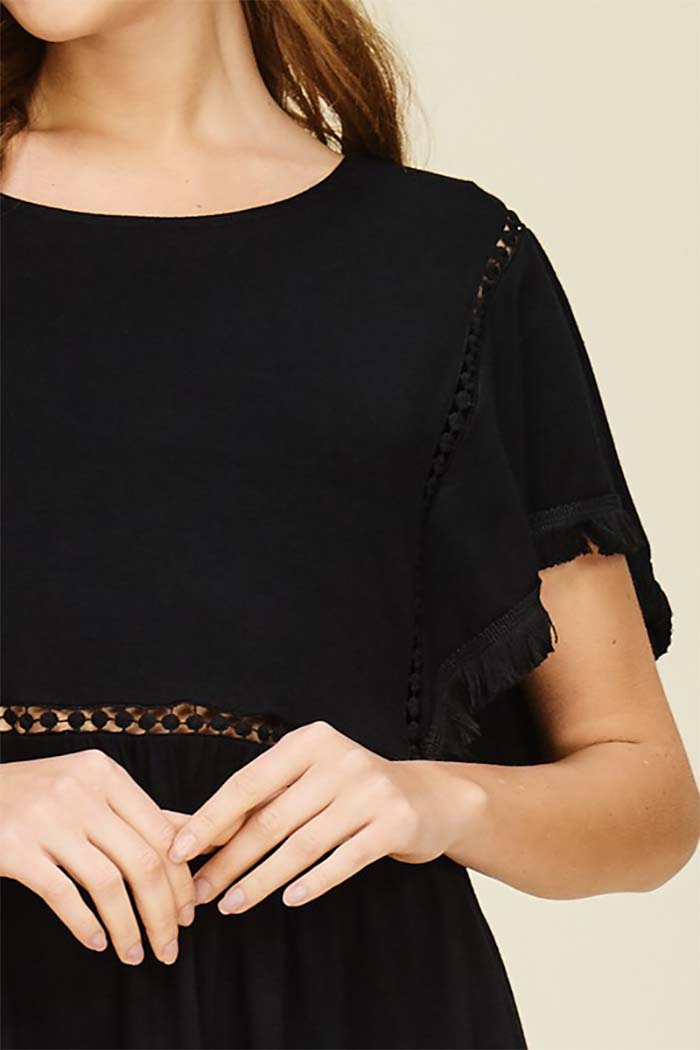 Daisy Boat Neck Top : Black