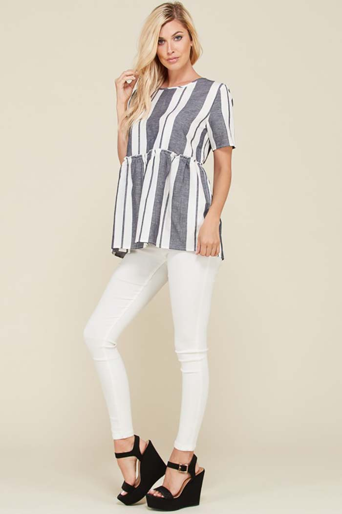 Freida Stripe Tunic Top : Dark Charcoal