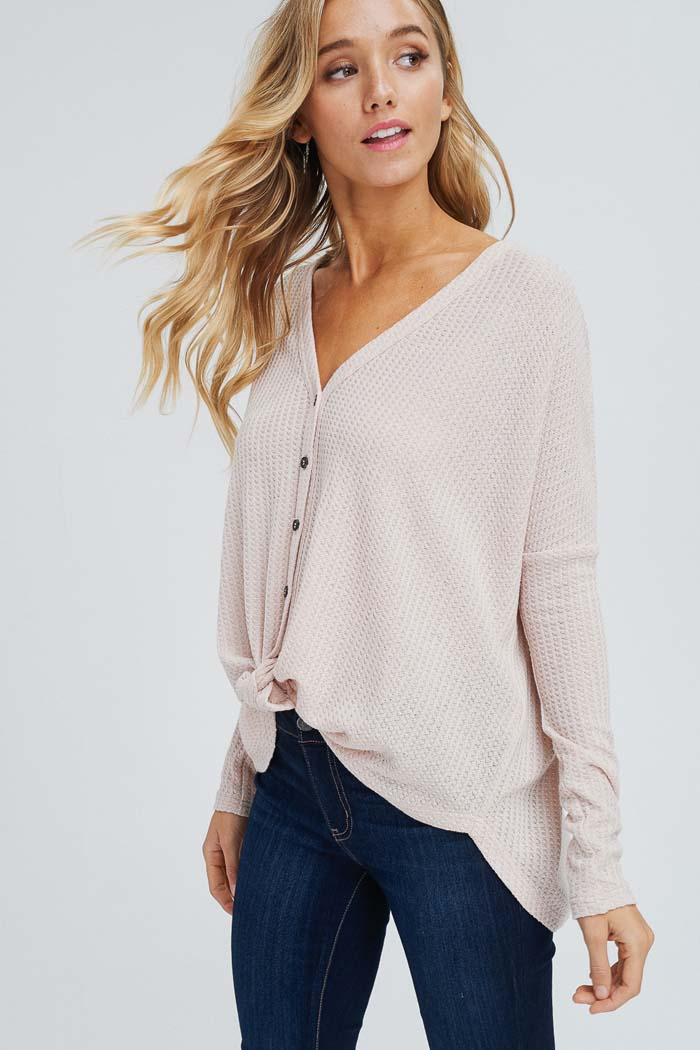Arianna Button Down Sweater : Taupe
