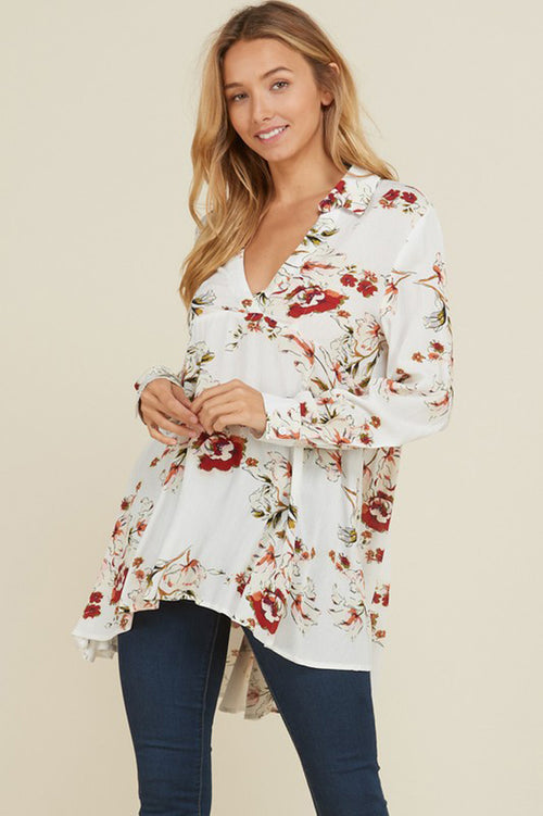 Diane Floral Hi-Lo Tunic Top : Off white